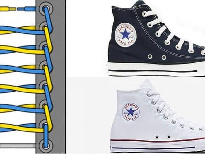 Cách buộc dây giày Converse cổ cao hình thang