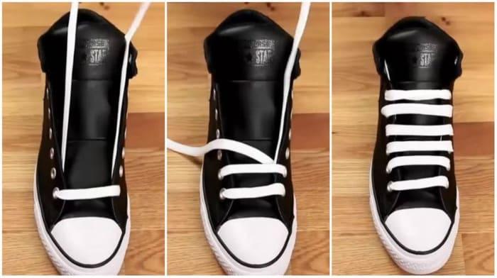 cách buộc dây giày quá dài
