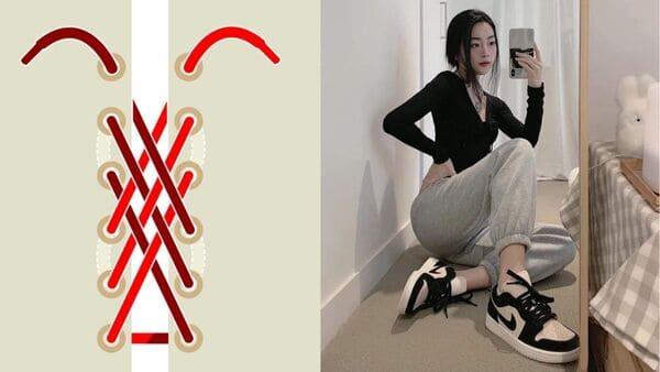 buộc dây giày jordan hình lưới