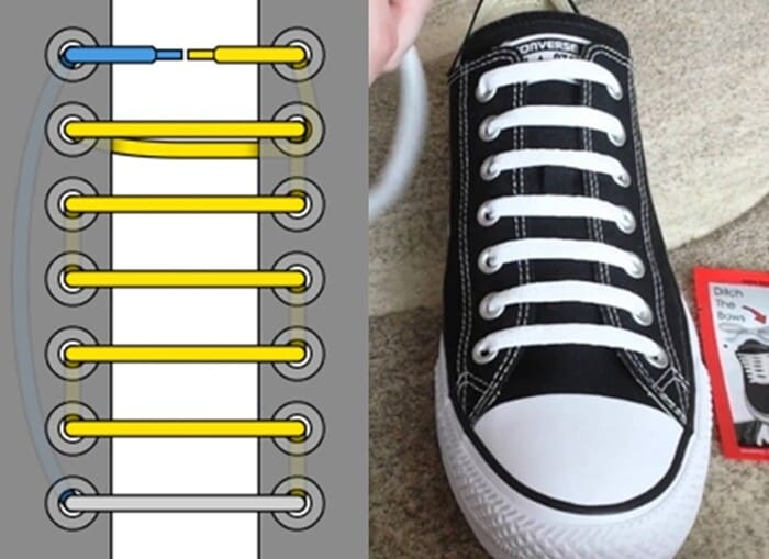 buộc dây giày ngang