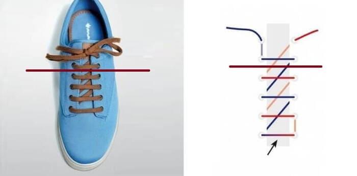 cách buộc giày 4 lỗ hình răng cưa