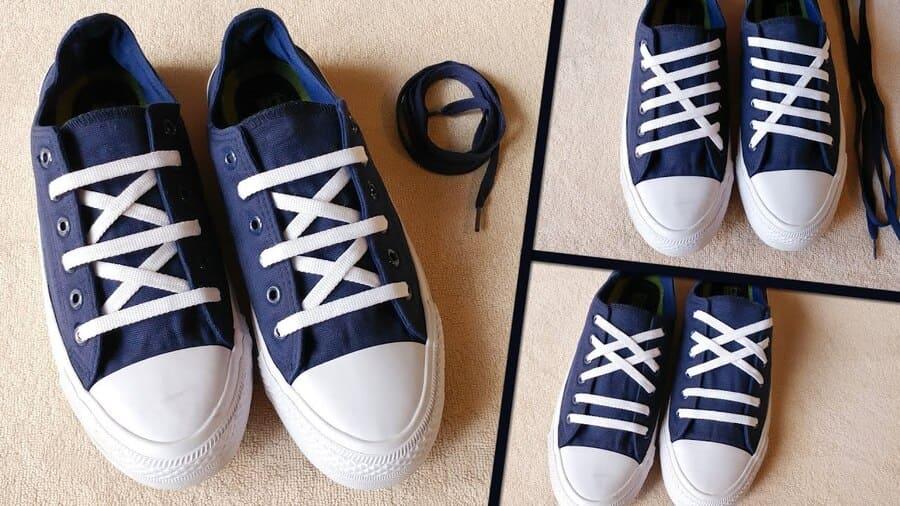 cách buộc giày 4 lỗ