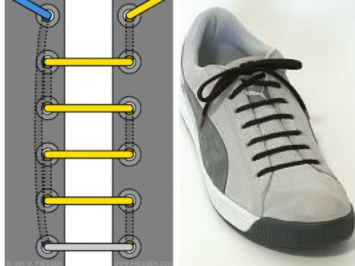 Cách buộc dây giày số nút lẻ kiểu hàng ngang