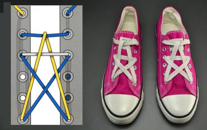 Cách buộc dây giày số nút lẻ kiểu ngôi sao