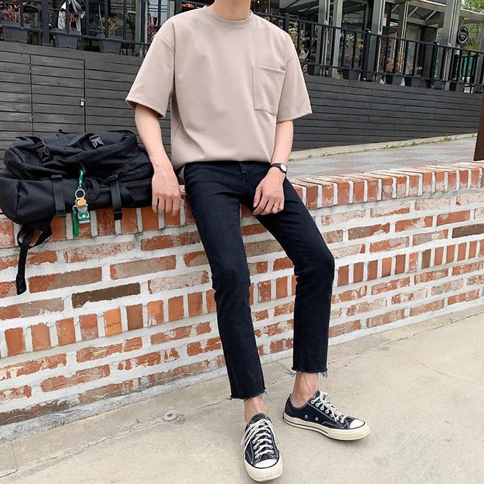 cách phối đồ với giày converse cổ thấp cùng áo phông basic đẹp