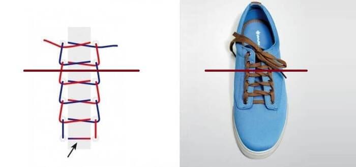cách thắt dây giày 4 lỗ kiểu hình thang