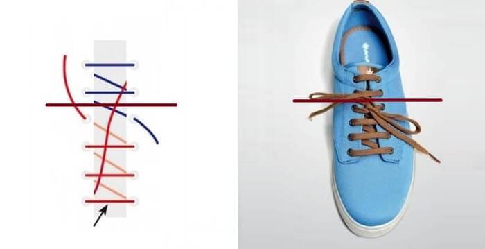 cách xỏ dây giày 4 lỗ kiểu riding bow
