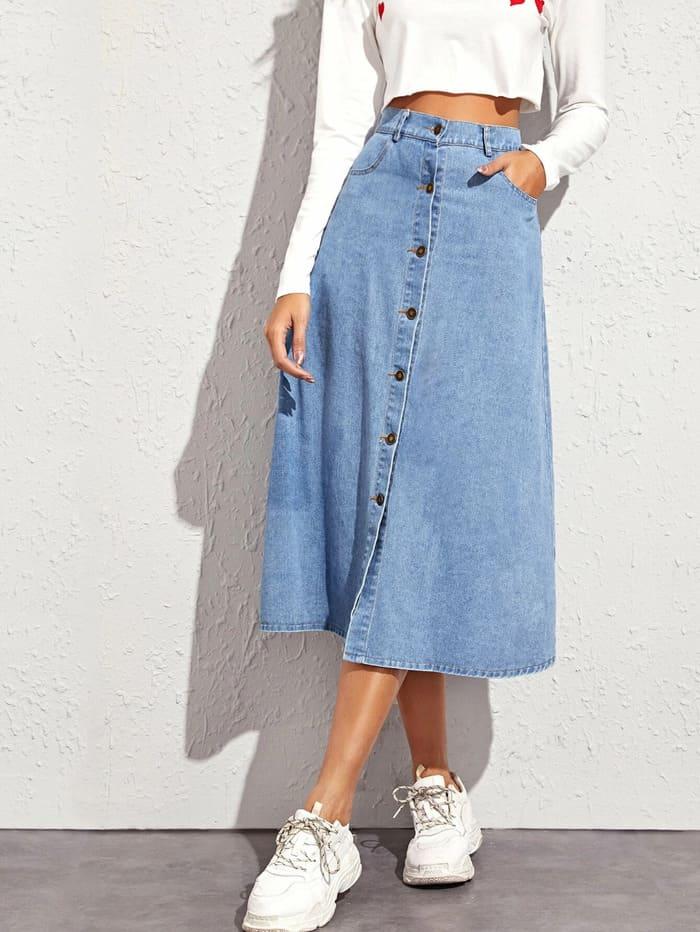 chân váy jean dài midi