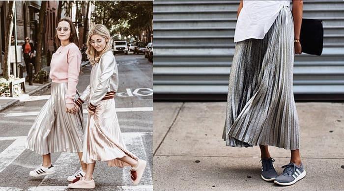 top những tips phối đồ với giày adaidas thể thao cùng chân váy dịu dàng