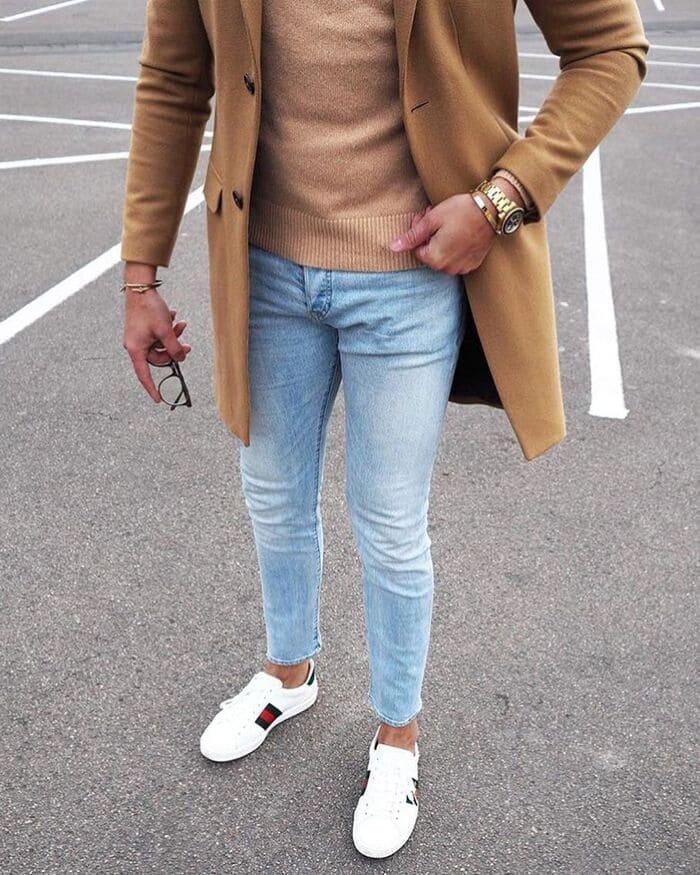 cách phối đồ với giày gucci nam với quần jean