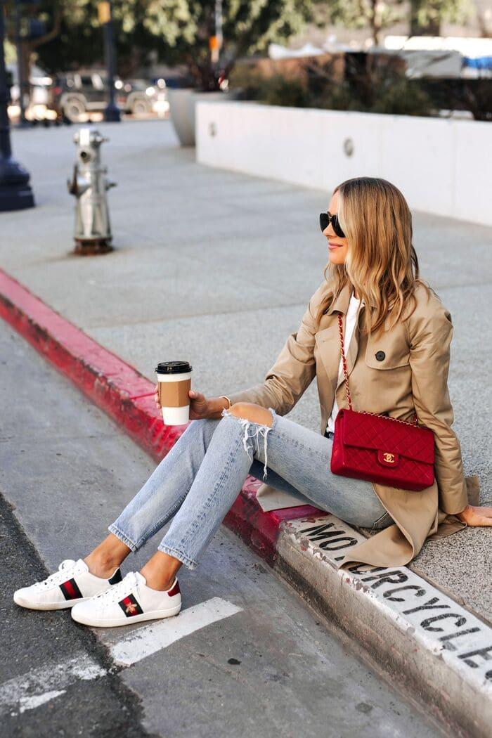 cách phối đồ với giày gucci nữ với quần jean rách