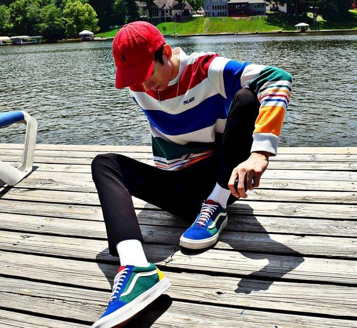 mix giày xanh nam