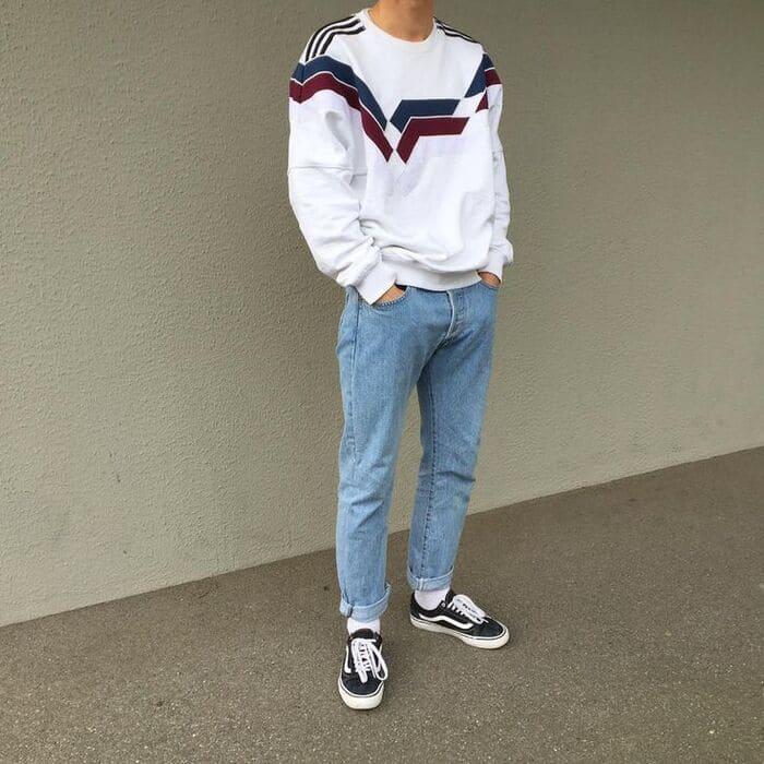 phối đồ với giày đen nam cùng quần xanh