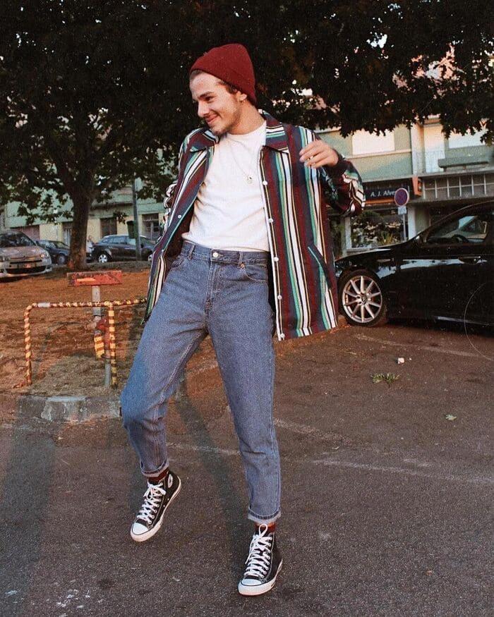 phối đồ với giày đen nam cùng quần jean