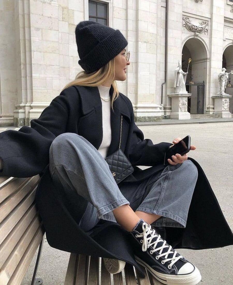 phối đồ với giày đen