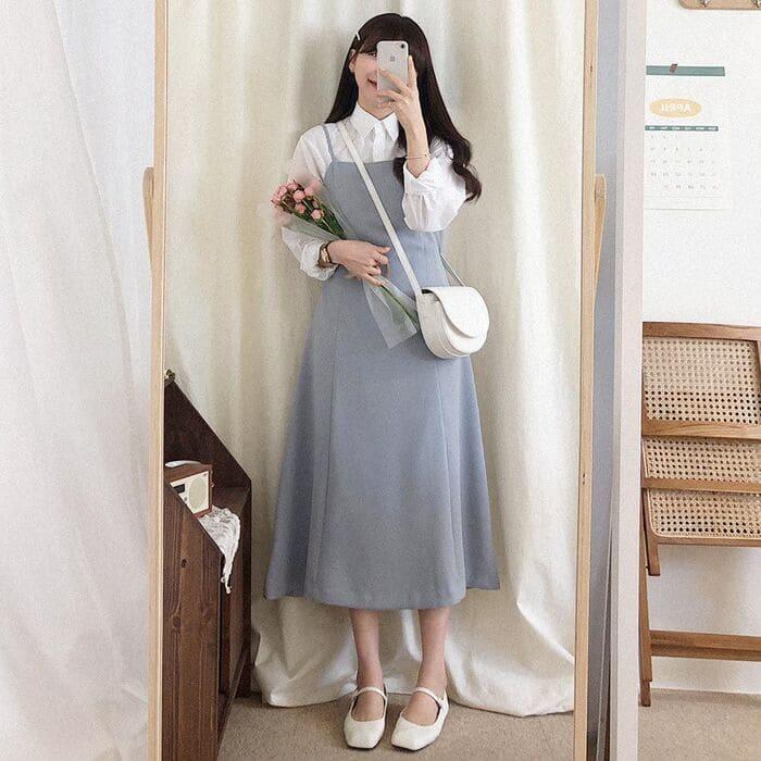 váy yếm kết hợp với giày búp bê 2